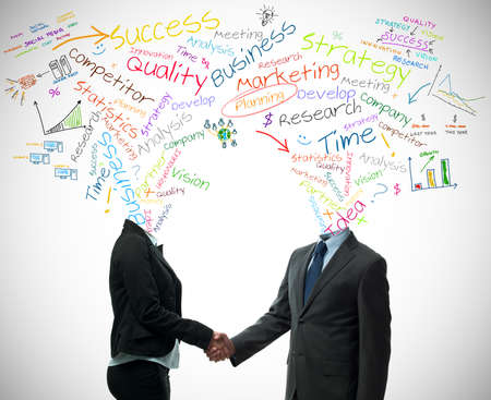 strong partnership: Business partner handshake with business words concept