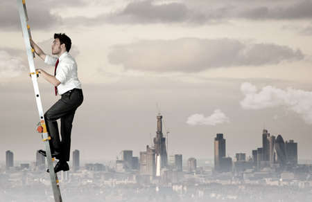 to climb: Difficult career of a businessman Stock Photo