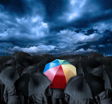 umbrella rain: Be a different businessman concept
