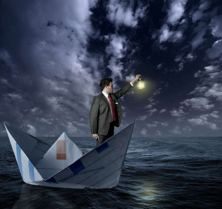 paper boat: Businessman looking for new affairs