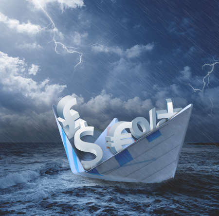 Collapse of economy concept with money symbols on the boat Stock Photo - 13885781