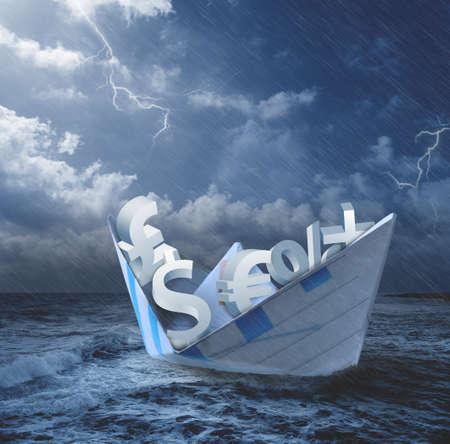 effondrement: R�duire de concept d'�conomie avec des symboles de l'argent sur le bateau