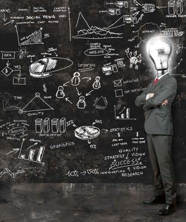 Concept of a businessman that reflect on new ideas