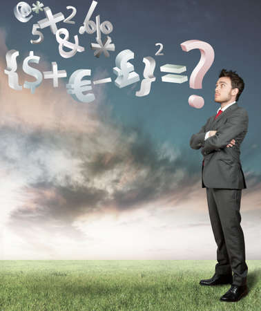 businessman reflects on the economy Problem Stock Photo - 13947252
