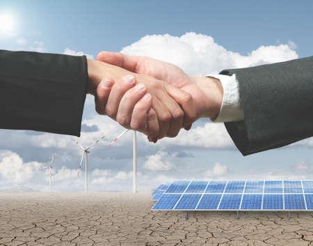 New renewable energy project with handhsake photo