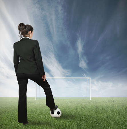 field goal: Concept of hard businesswoman challenge Stock Photo