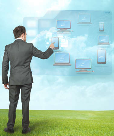 Businessman working with cloud compute technology Stock Photo - 14108186