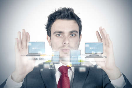 Businessman and cloud compute concept Stock Photo - 14216988