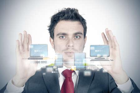 compute: Businessman and cloud compute concept