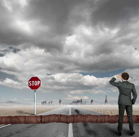 split road: Concept of a businessman with difficulties in career Stock Photo