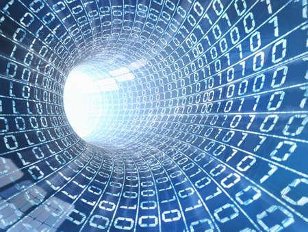 tunnel di luce: Backgroud di byte in un cavo di internet Archivio Fotografico