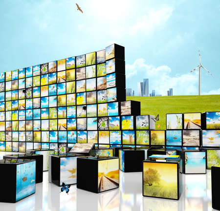 Futuristic multimedia streaming concept with blocks