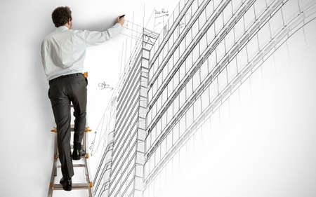 engineering drawing: Architect draws a project on a staircase