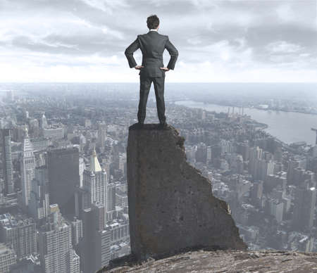 the risk: Businessman concerned about the uncertain future