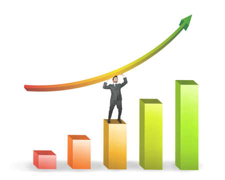 Success of a businessman with positive statistics Stock Photo - 14630495