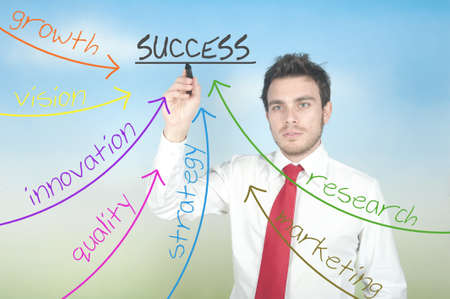 Businessman drawing success in business diagram Stock Photo - 14734966