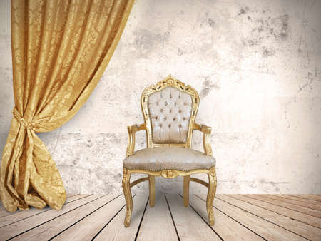 richness: Concept of success with luxurious chair Stock Photo