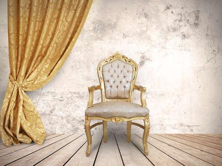 Concetto di successo con sedia di lusso Archivio Fotografico