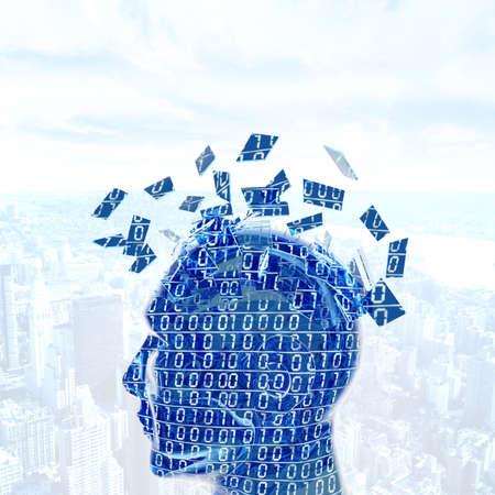 artificial: Futuristc concept of a digital mind