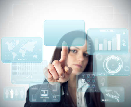 enter: Modern virtual screen with multiple window Stock Photo