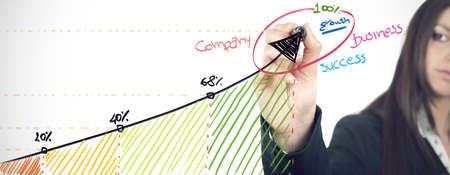 Businesswoman that draws statistics of the company