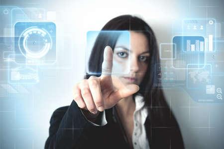 Futuristic virtual screen with multiple window photo