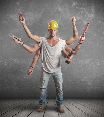sudoroso: Concepto de trabajador multitarea Foto de archivo