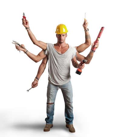 dělník: Pojem multitasking pracovníka na bílém pozadí