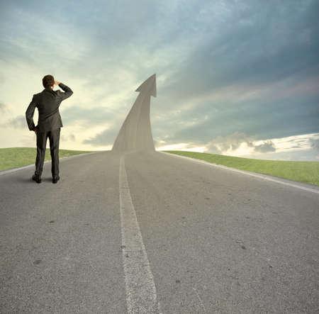 mision: Concepto del camino hacia el �xito Foto de archivo