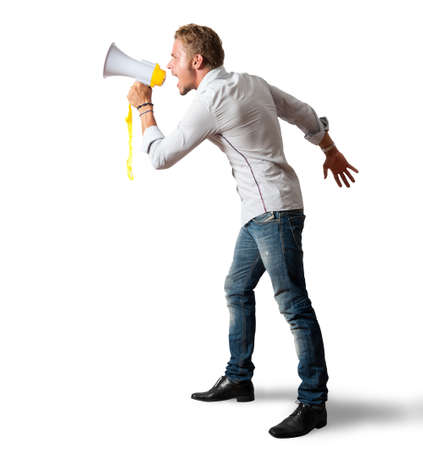 Boy screaming on the megaphone on white background Stock Photo - 15314492