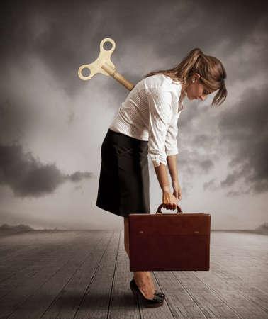 Concept van een vermoeide zakenvrouw Stockfoto