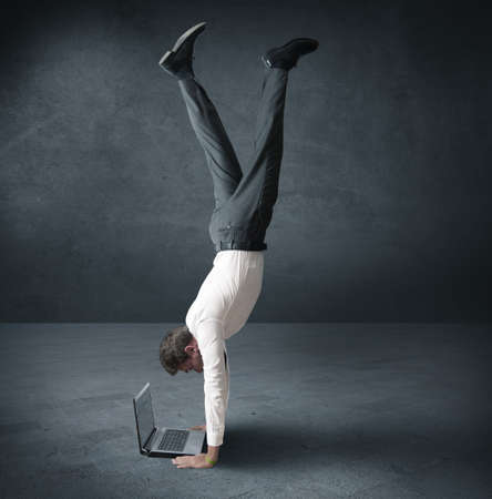Acrobatic work of a buinessman