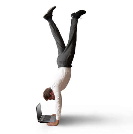 Acrobatic work of a buinessman Stock Photo - 15314490