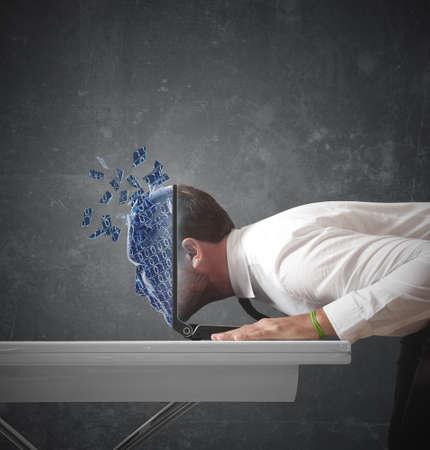 binary code: Businessman explorers the digital world Stock Photo