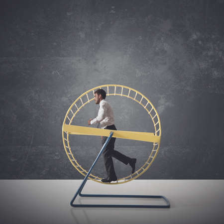 Concepto de la rutina diaria de un hombre de negocios
