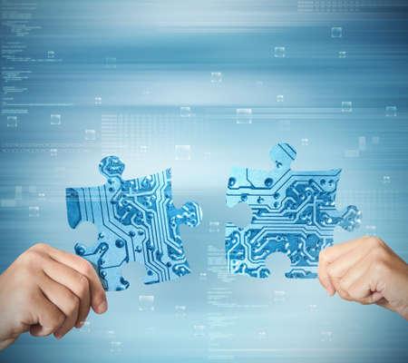 회사: 두 파트너의 시스템 통합의 개념 스톡 사진