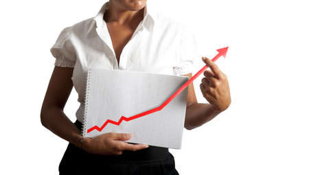 finance manager: Businesswoman helps statistics trend to growth Stock Photo