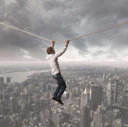 risiko: Konzept eines Gesch�ftsmannes, der die Schwierigkeiten Herausforderungen