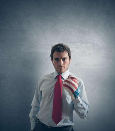 pugilist: Concepto de hombre de negocios listo para luchar Foto de archivo