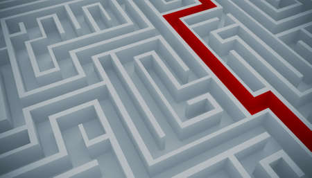 difficult task: Maze with a red path to solution