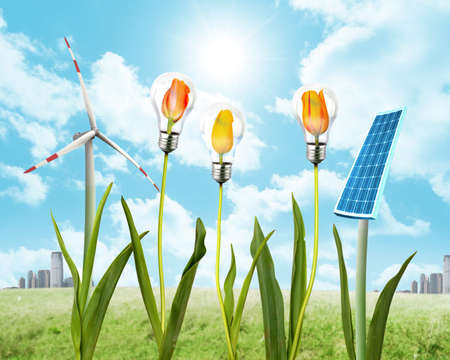 Concept of clean energy with solar panel and wind energy photo