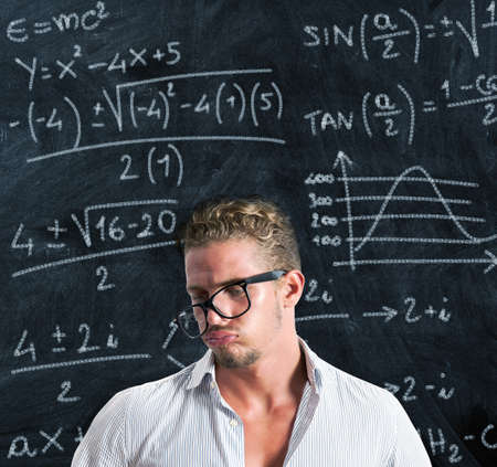 solve problems: Student in trouble with the study Stock Photo