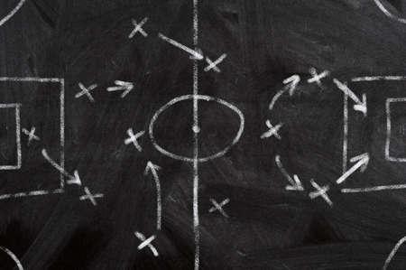 Soccer strategy schema in a blackboard photo