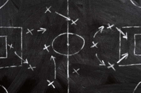 tactical: Soccer strategy schema in a blackboard Stock Photo