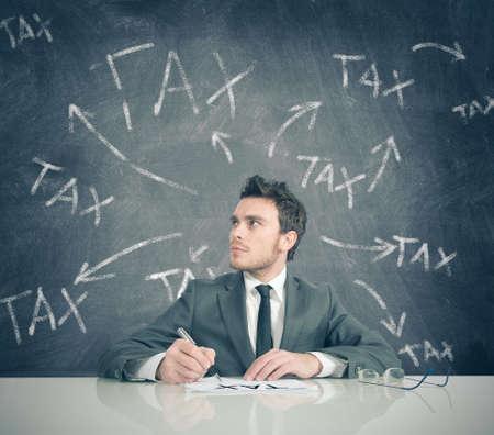 tax bills: Concept of businessman and tax problem Stock Photo