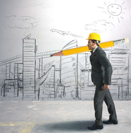 ambitions: Concept of architect and  his sketches Stock Photo