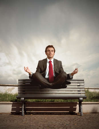 elevation: Elevation of a businessman in relax
