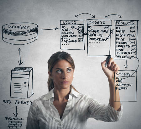 Businesswoman drawing database structure Stock Photo
