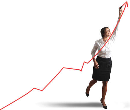 future earnings: Businesswoman drawing statistics trend Stock Photo