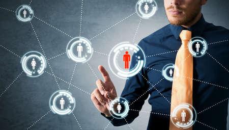 networking people: De negocios que trabaja con la red social